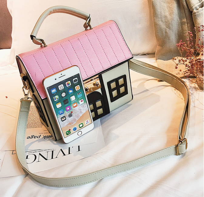 Image 5 - Funny Cute Cartoon House Design Pu Leather Handbag Women's Personality Handbag Ladies Shoulder Crossbody Messenger Bag  New-in Top-Handle Bags from Luggage & Bags