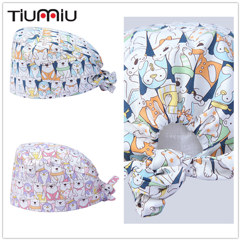 Men Women Cute Printed Cats Medical Caps Gourd Hat Clinic Surgical Hospital Doctor Laboratory Pharmacy Beauty Salon Workwear Hat