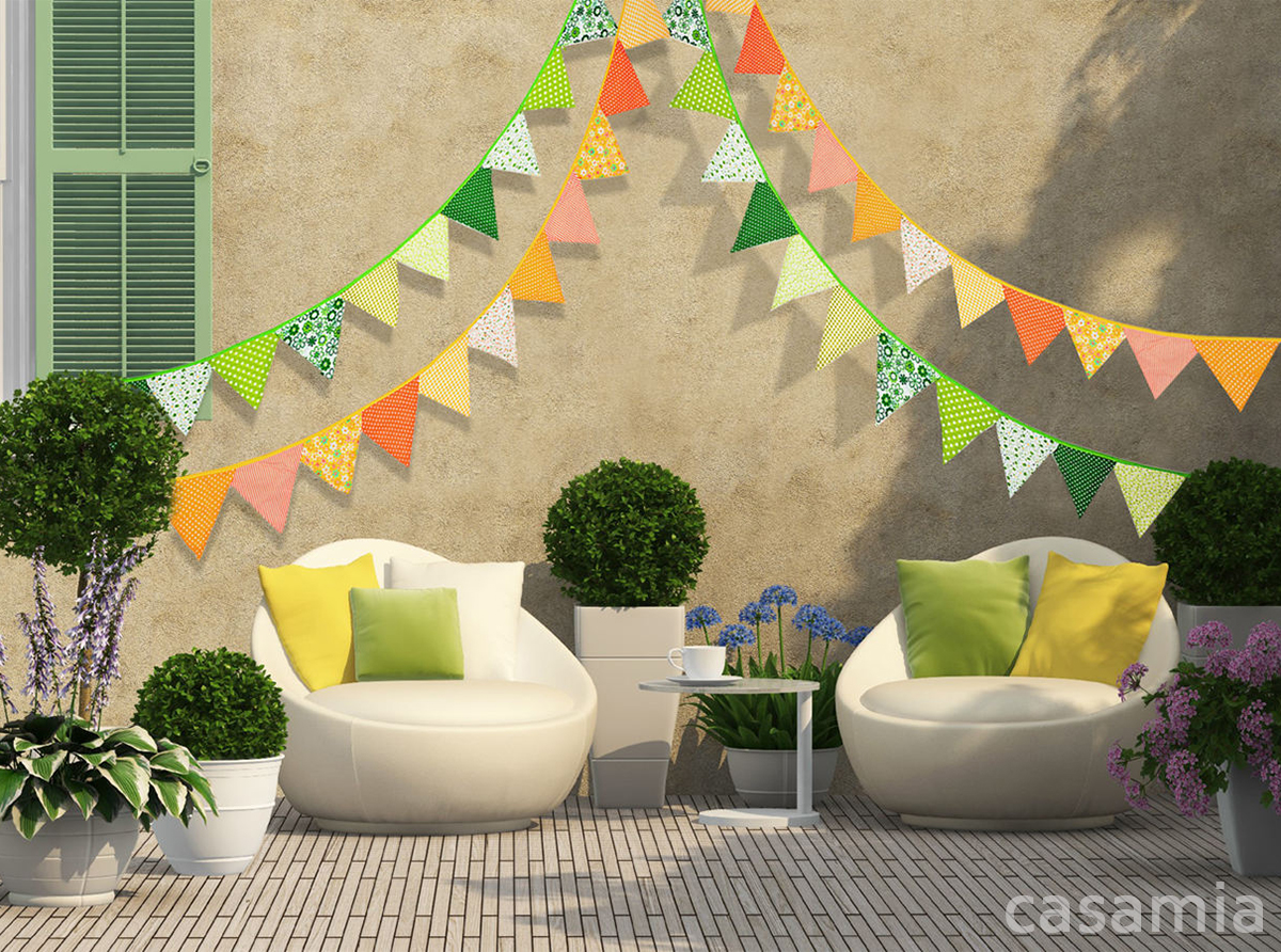 Triangle Pennant Garland Banner Cotton Fabric Party Flags Birthdays ...