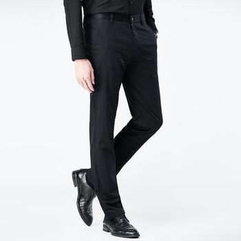 Garnitur spodnie 2019 nowe męskie spodnie wizytowe Slim Fit młodzieżowe biuro biznes spodnie męskie spodnie formalne perfumy Masculino garnitury wypoczynku tanie i dobre opinie Aliman Xiangqing CN (pochodzenie) 8452 COTTON Mieszkanie Zipper fly Solid Color Black Khaki Fashion City Leisure time youth
