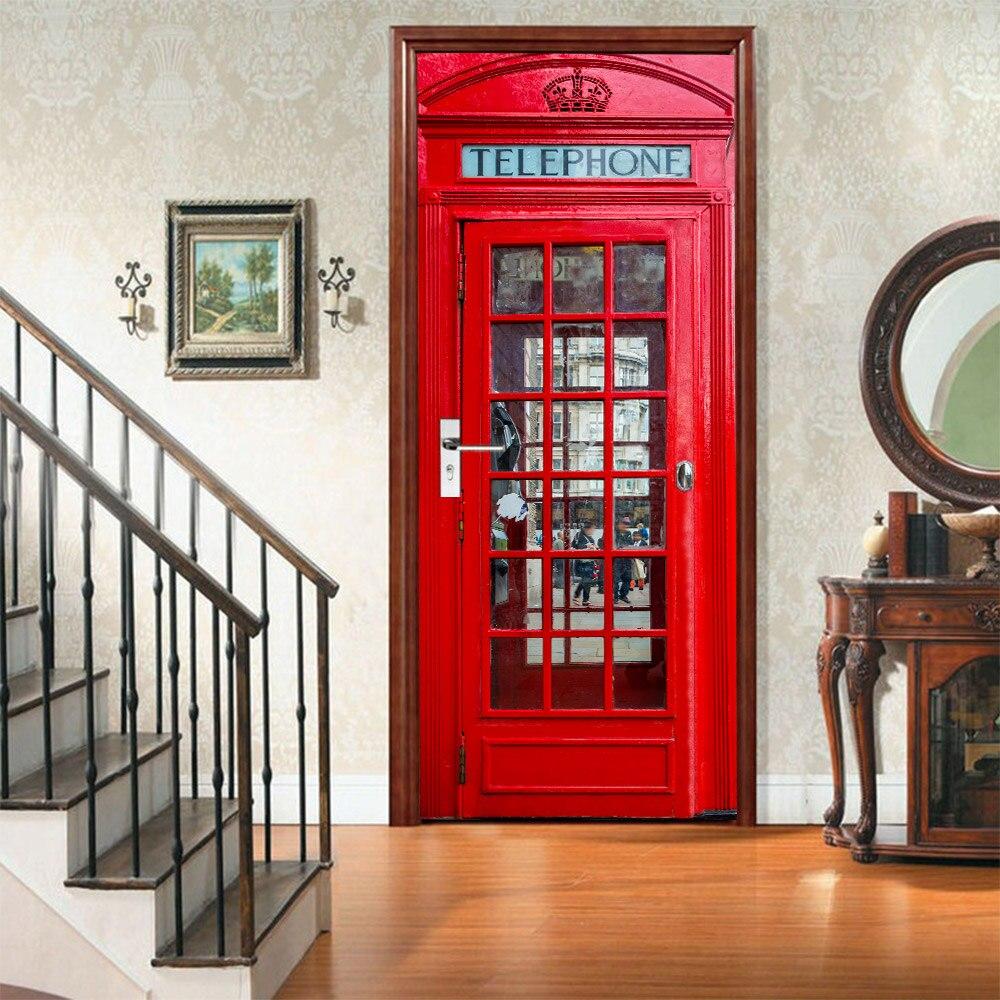 3D Red Telephone Station Door Sticker DIY Home Decor Decals Self Adhesive On Door Waterproof Mural For Bedroom Door Renovation