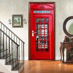 3d estação de telefone vermelho porta adesivo diy decoração da sua casa decalques auto adesivo na porta mural à prova dwaterproof água para o quarto renovação da porta