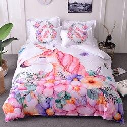 Tekstylia domowe Cartoon księżniczka pościel ustawia akwarela jednorożec kołdra z nadrukiem zestaw osłon różowy/czarny pościel z poszewki na poduszkę