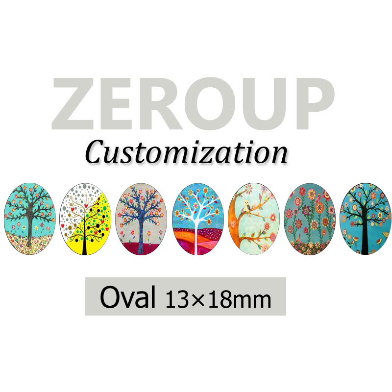 ZEROUP Professional customized services 13x18mm oval pictures glass cabochon mixed patterns jewelry components 195pcs/lot