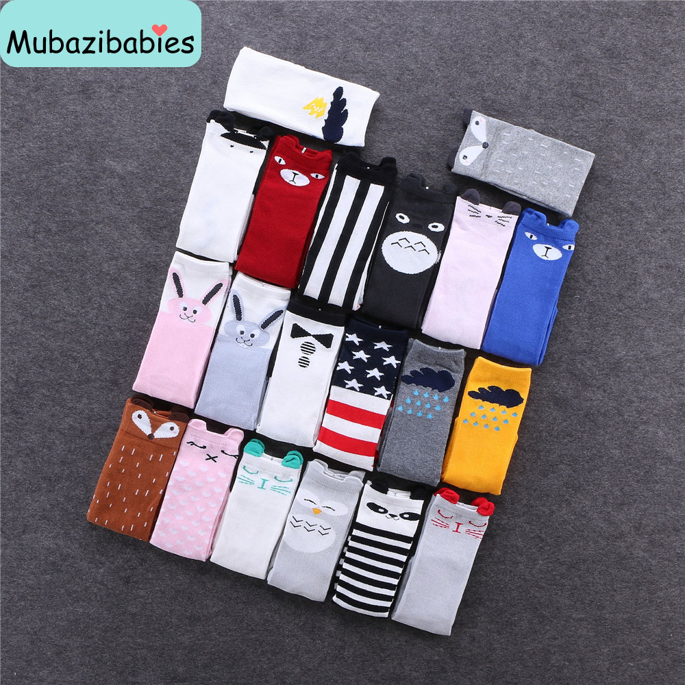 Cartoon Fox Kids Knee High Socks Brand Children Girls Sock Baby Leg Warmers Kids Kawaii Anti Slip Fox Totoro Chicken Cute Socks baby knee pad kids socks leg warmers kneepad protector rainbow striped newborn girls leggings tights boys kawaii toddlers