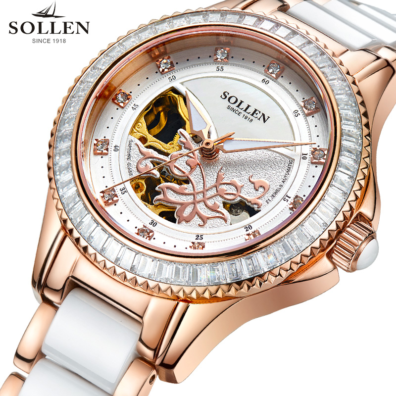 SOLLEN Female Notes Rose Gold Automatic Self-Wind Mechanical Watches Women Genuine Leather Strap Skeleton Watch Fashion Ladies royal carving ks rose gold skeleton automatic self wind wristwatch male fashion clock leather strap mechanical watch gift ks294