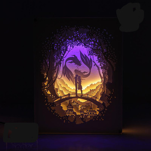 Image 2 - BRIGHTINWD Light Shadow Paper Lamp 3D Night Light Pisces Lover Bedside Decorative Table Lamp
