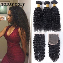 Yvonne Brazilian Kinky Curly Virgin Hair with Closure Deep Curly Brazilian Hair Weave Bundles with Closure Hot Vip Beauty Hair