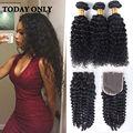 Brazilian Kinky Curly Virgin Hair with Closure Deep Curly Brazilian Hair Bundles with Closure Afro Kinky Curly Weave Human Hair