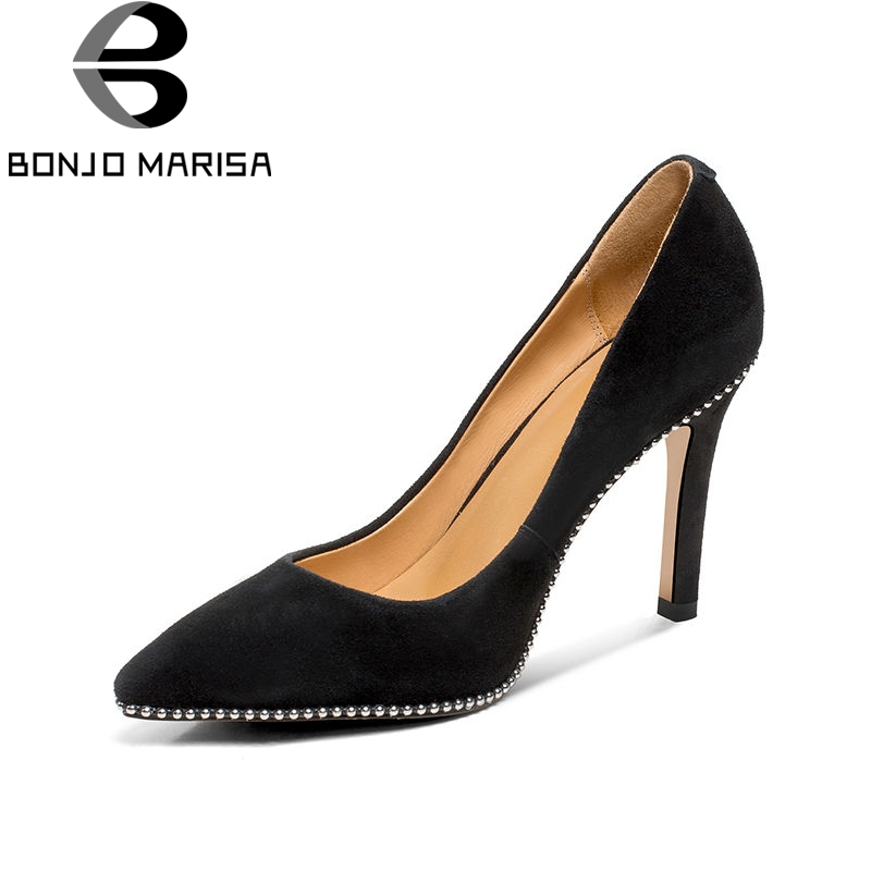 BONJOMARISA 2018 Spring Autumn Women Brand Concose Natural Suede Pumps High Heels Black Ol Shoes Woman Pointed Toe Shallow Shoes new spring autumn women shoes pointed toe high quality brand fashion ol dress womens flats ladies shoes black blue pink gray