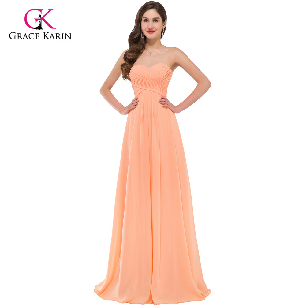 Elegant long evening dresses grace karin women strapless party grace karin orange chiffon sexy cheap long bridesmaid dresses 2018 ruched elegant prom dresses under 50 ombrellifo Choice Image