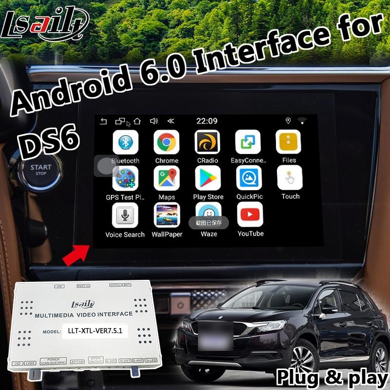 Plug & Play Android 6.0 GPS Navigation Box Video Interface pour Citroen DS5 DS3 DS4 MRN Smeg + Youtube Waze yandex Carplay