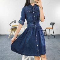 2014 Autumn Fashion Plus Size Loose Woman Clothing Female Casual Slim Denim Dress Three Quarter Sleeve