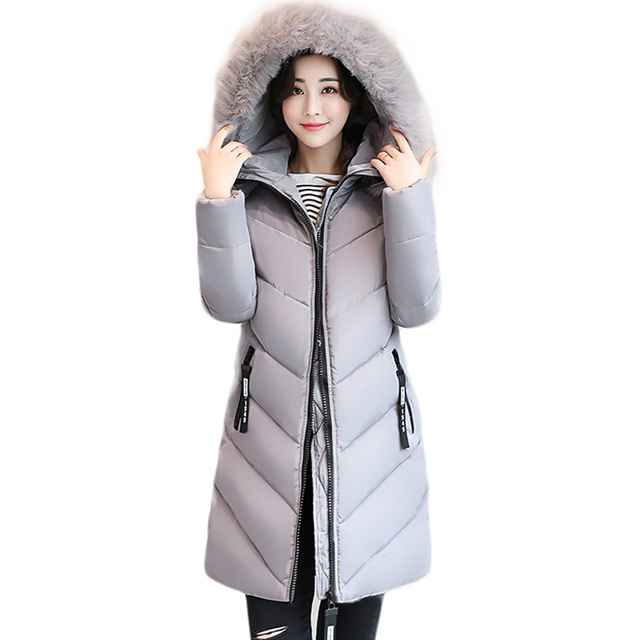 Women Jacket Plus Size 5XL 6XL Winter Hooded Long Padded Coat Fashion Big Faux  Fur Collar