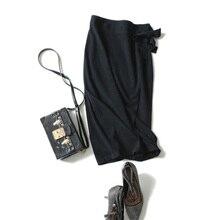 2018 Autumn Elegant Bowknot 100% Cashmere Skirt Knitted Flared Midi Skirts Sweater Sashes Skater Knee Length Winter Knit Skirts