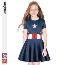 Cosplay Suicide Squad Harley Quinn Captain America Dress Girl Sorcerer Tutu Headdress Uniform Child Girl Kids
