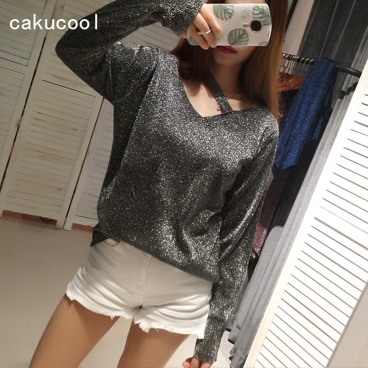 Cakucool Silver Lurex Bling t shirt V neck Sexy Hollow Out Long Sleeve Tees Casual Loose Knit Slim Club T Shirts Tops Female