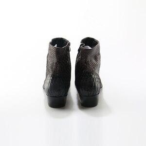 Image 3 - Cá Sấu Hạt Nâu Trắng Nam Mắt Cá Chân Giày Nổi Chính Hãng Áo Da Giày Mùa Xuân Cao Phẳng Giày Mới Nam Giày Cưới
