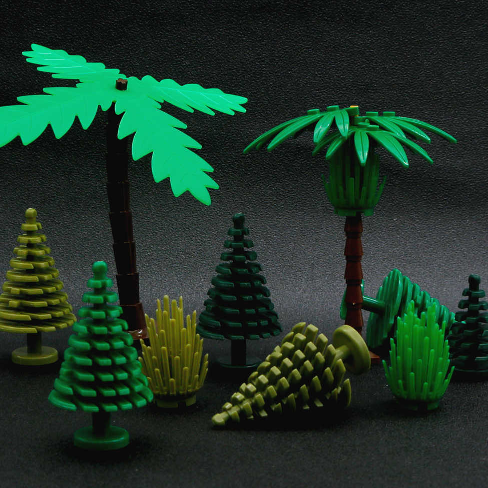 Compatible LegoINGlys City Tree MOC Building Blocks Green Plant Mini Christmas Tree DIY Garden Military Bricks Toys For Children