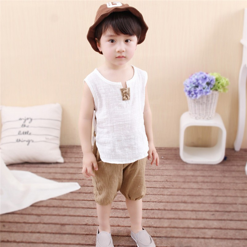 2 Pcs Sets Baby Boys Suit Kids Sleeveless T-shirt + Shorts Top & Pants Outfits Summer Toddler Boy Clothes Children Clothing Set