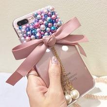 For Xiaomi mi A1 5X A2 6X 8 SE redmi note 4 4x 5A Prime 5 Plus Pro S2 Y2 6A 6 Glitter Rhinestone bow pearl Phone case soft cover