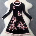 Вышивка платья 2017 NEW Высокого качества весна Вязание мода Свитер Женская Одежда XL зима Dress Casual Длинным рукавом dress