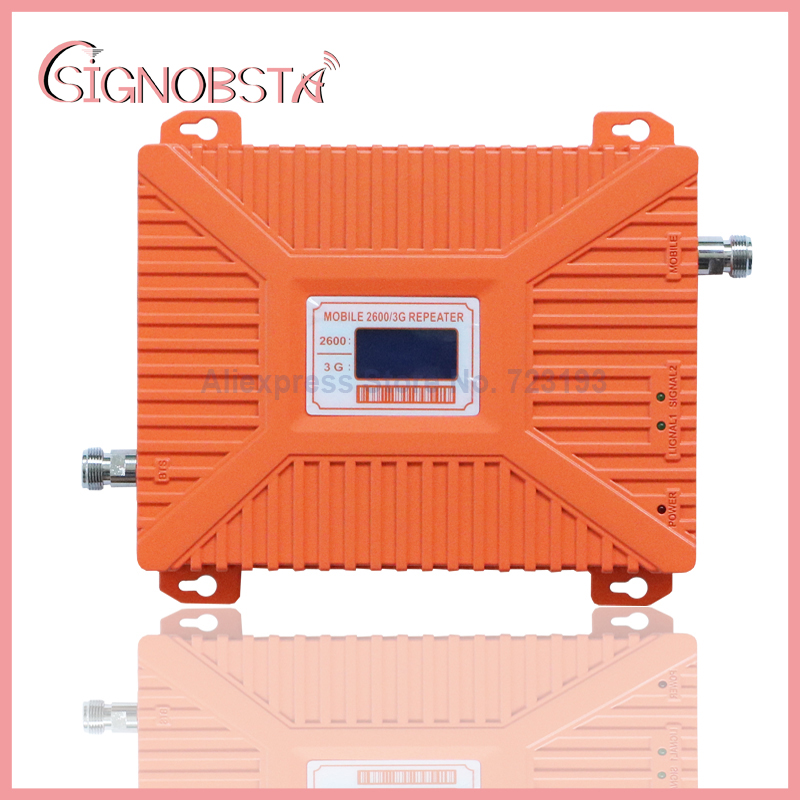 High gain mobile phone dual band 3g 4g booster cellphone wcdma 2100mhz UMTS 4g LTE 2600 mhz repeater with power adaptor on sale