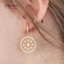 LWONG Delicate Rhinestone Huggie Earrings for Women Round Hollow-Out Flower Charms Hoop Earrings Samll Hoops Wedding Earrings(China)