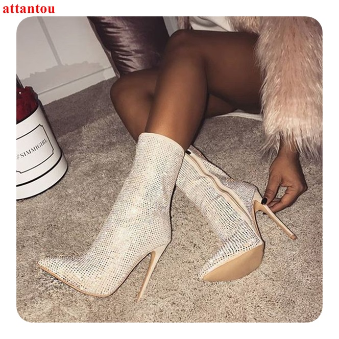 Partie Robe Bling As Talon Femmes Mince Bottes Strass Picture Hiver Chaussures Courtes Pointu Orteil 2018 Mode Automne Shoeswoman Y6zOaW