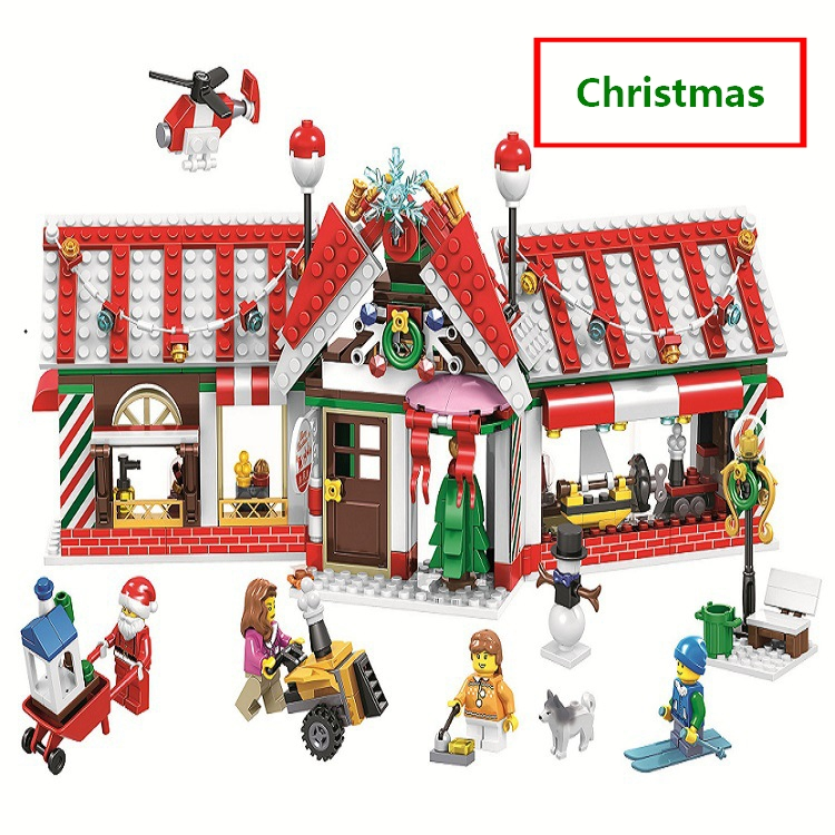 2019 Christmas House Advent Calendar Santa Claus Snow Truck Figures Building Blocks Model Toys Compatible with lego Best Gifts christmas santa house face number watch page 5