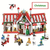 2019 Christmas House Advent Calendar Santa Claus Snow Truck Figures Building Blocks Model Toys Compatible with lego Best Gifts
