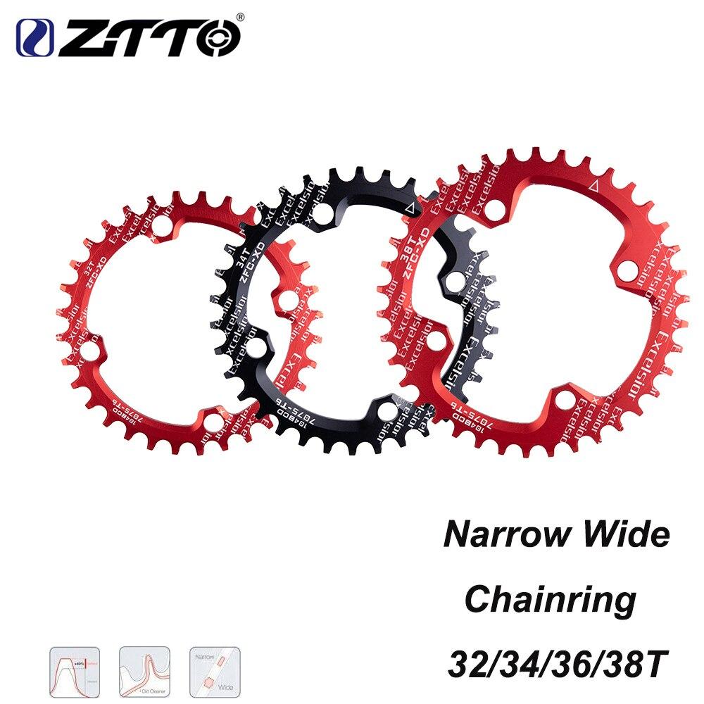 Ztto única velocidade 1x sistema estreito largo chainring 104 bcd redondo 32 t 34 t 36 t 38 t para mtb 11s 10s 9s 1*11 anel de roda dentada