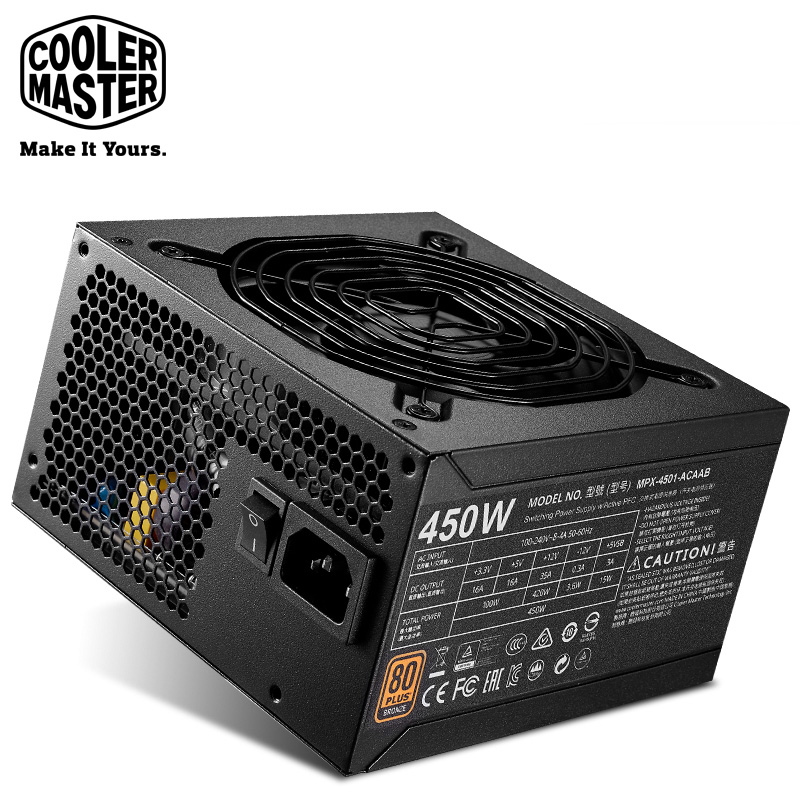 Cooler Master Non-module Rated 450W Computer Power supply Input Voltage 100~240V 80PLUS Safety Certification Office Game PC PSU цена