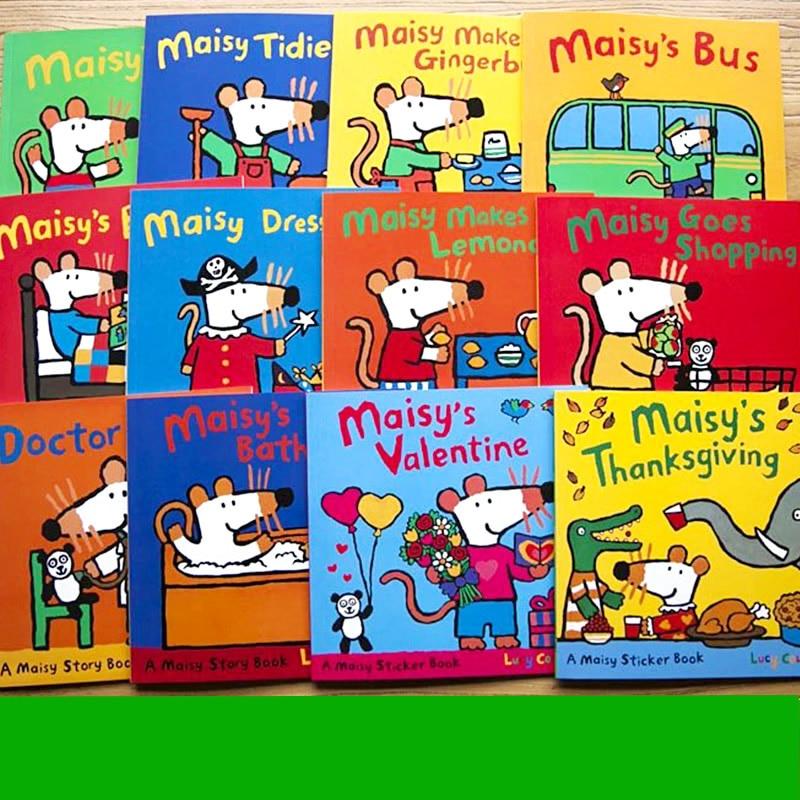 12 livres/ensemble Maisy sac de bain souris vague souris anglais livre d'images enfants livre d'histoire autocollant livre enfants jeux IQ EQ formation