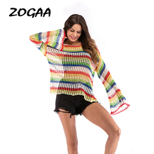 ZOGAA Knitting Hollow LGBT T-shirts Women Long Flare Sleeve Streetwear Summer New Top Tees Casual Loose Fit Female T-shirts zogaa tie dyed midriff baring women t shirts loose fit casual tops brand cloth summer new shorts sleeve casual female t shirts