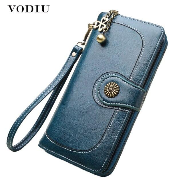 Wallet Women Female Clutch Purse Leather Long Wallet Phone Bag Coin Purse Card Holder Money Zipper Strap Multifunction 2019