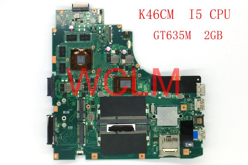 K46CM With I5 CPU GT635M 2GB mainboard For ASUS A46C K46C K46CB K46CM laptop motherboard 100% Tested Working Well free shipping board for 250 044 901d 2gb dae lcc well tested working