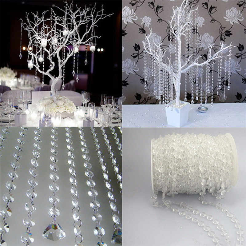 1 Roll 10M Beads Garland Octagonal Strand Acrylic Crystal Beads Curtains DIY Window Door Wedding Party Passage Backdrop Decor