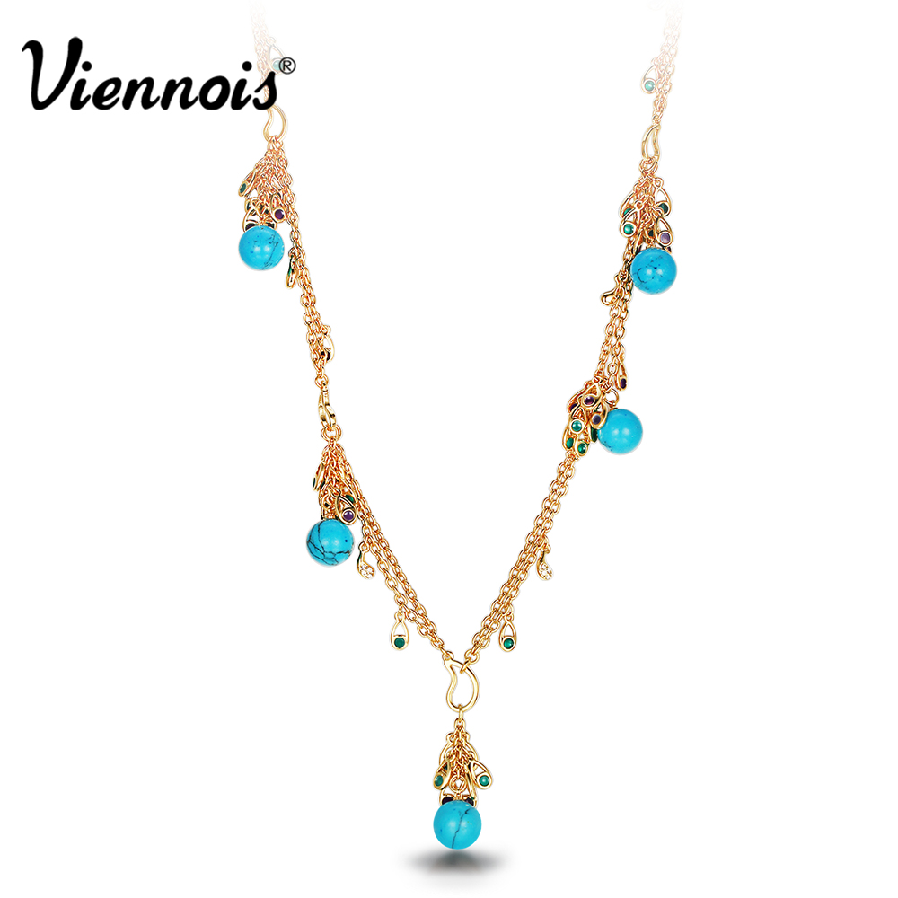 Viennois Gold Color Chain Necklaces For women Long Simulated Necklace Peacock Feathers Rhinestone Trendy Necklaces trendy layered rhinestone faux pearl necklace for women