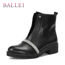 BALLEI Fashion Woman Winter Ankle Boots Good-quality Luxury Genuine Leather Round Toe Square Heels Soft Shoes Classic B8