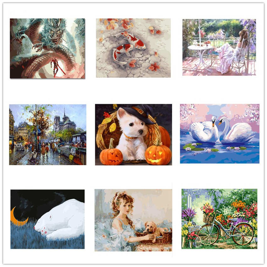 Hand Painted Canvas Oil Paintings Paint By Number Kits Animal Painting Coloring By Numbers Sleeping Bear in Painting Calligraphy from Home Garden