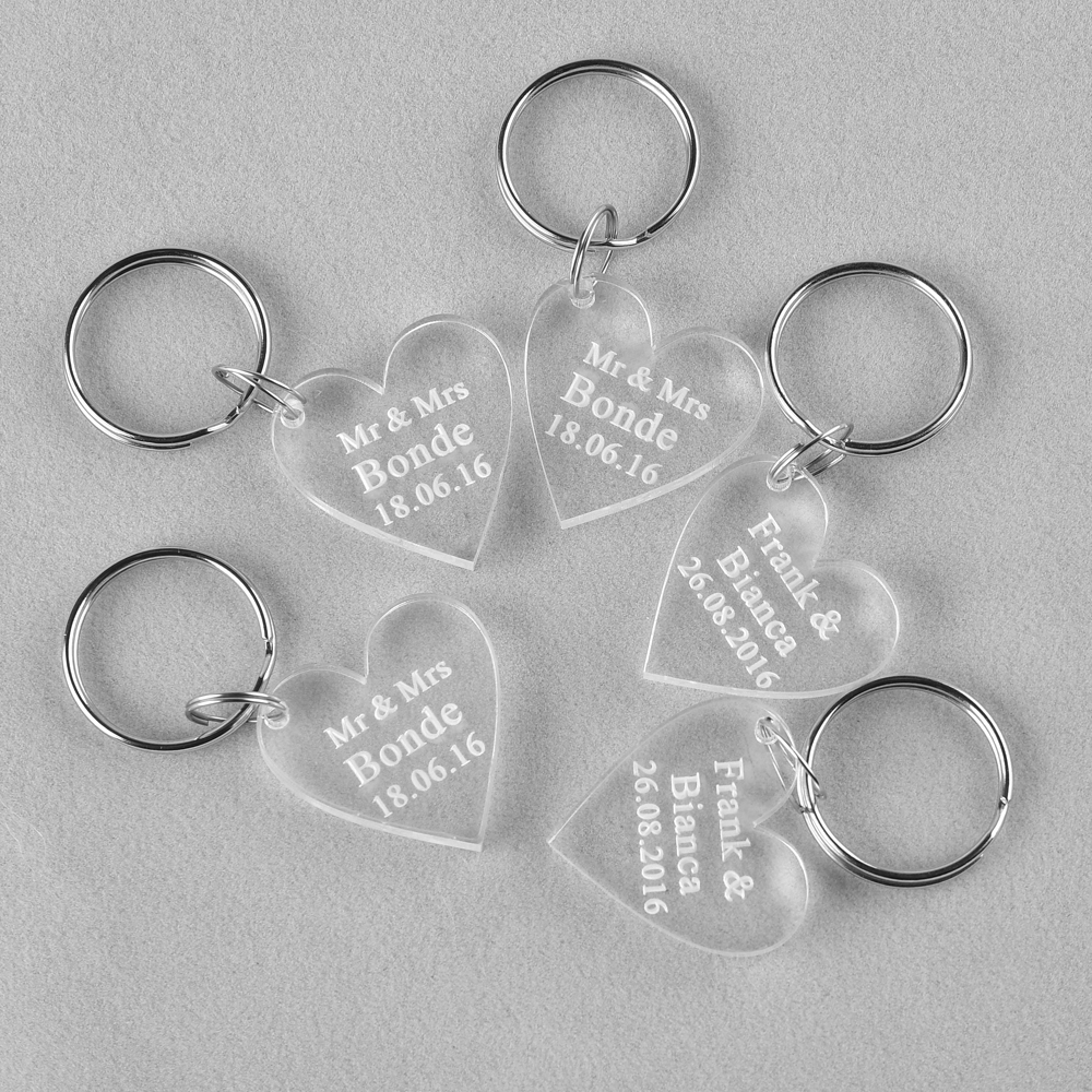 10 Piece Clear Personalized Laser Engraved Keychain Love Heart