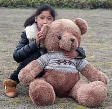 huge lovely plush teddy bear toy sweater teddy bear doll hugging bear toy gift about 130cm