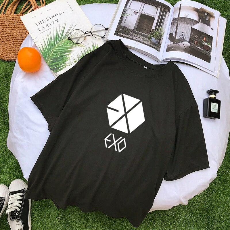 EXO Kpop Short Sleeve Tshirt Women Summer New Korean Cotton Tee Shirt Femme Casual Streetwear Tumblr Harajuku Tops Camisas Mujer