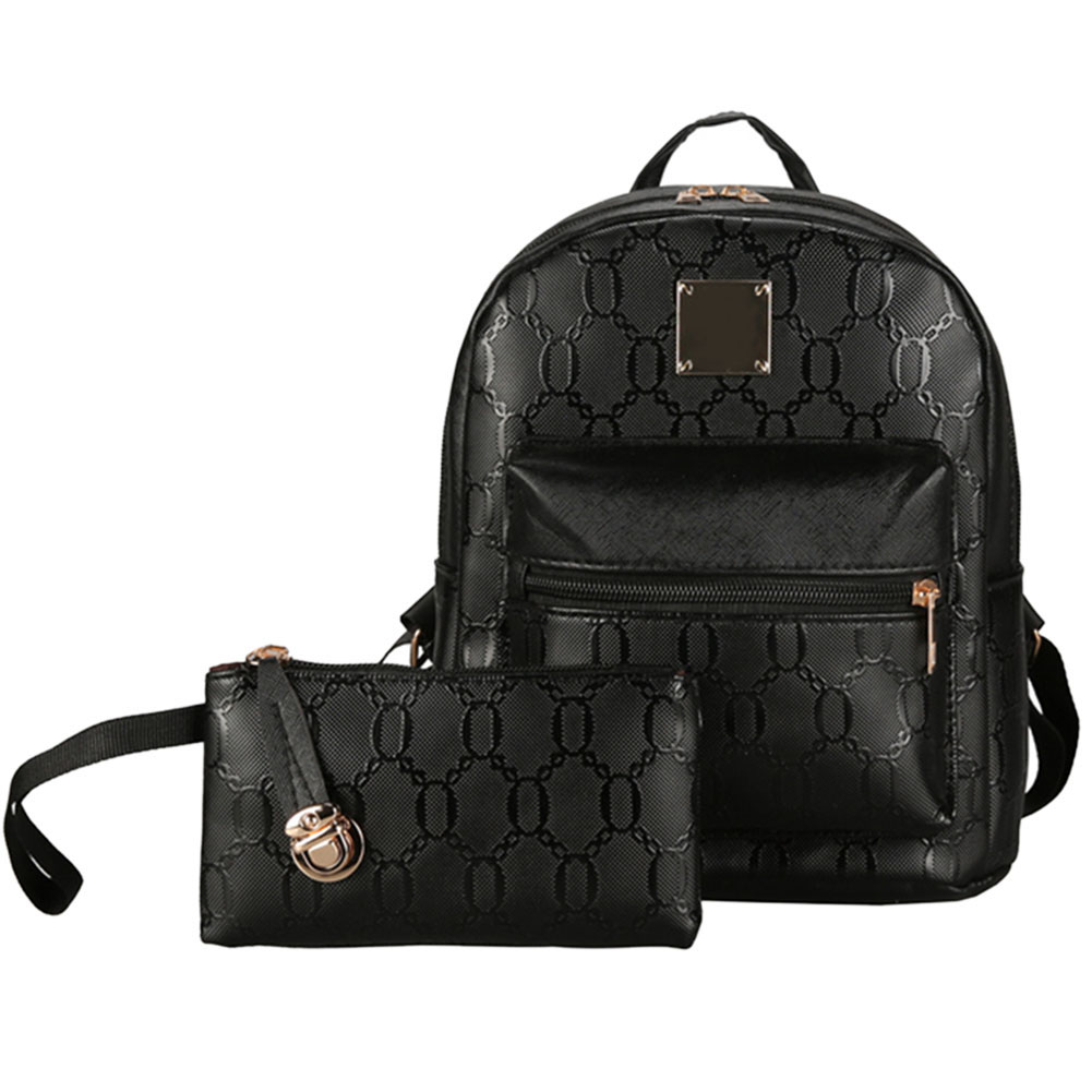 New Arrival 2pcs Women PU Leather Backpack Ajustable Casual Girls School Bag Composite Bags High Quality