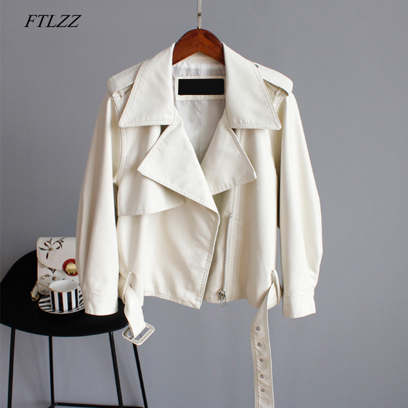FTLZZ Pu Motorcycle Faux Soft   Leather   Women Pu   Leather   Jacket Coat Long Sleeve Epaule Female Green Loose Short Jacket