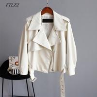 FTLZZ Pu Motorcycle Faux Soft Leather Women Pu Leather Jacket Coat Long Sleeve Epaule Female Green Loose Short Jacket