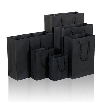 200pcs/Lot 10 Size Black Paper Gift Bag With Handle Wedding Birthday Party Gift Christmas New Year Shopping Package Bags