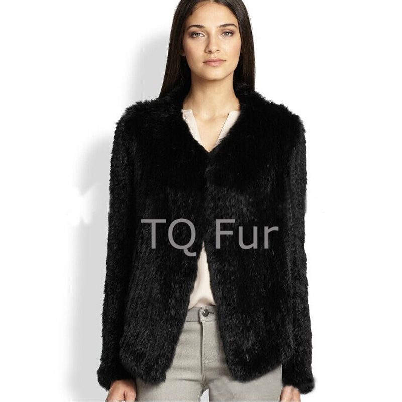 100% Real Knitted  Rabbit Fur Coat Full Sleeves Jacket Women Overcoat Winter Outerwear Top Quality