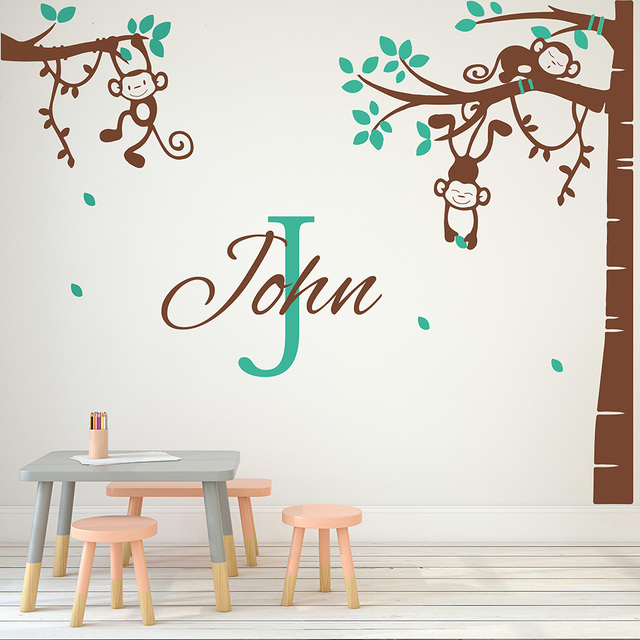 Corner Tree Wall Sticker Monkey Decal With Personalized Name For Children Room Nursery Removable